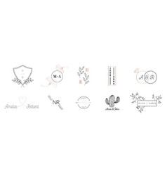 wedding monogram logos collection save the date vector image