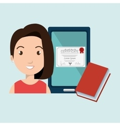 woman student tablet book diploma vector image