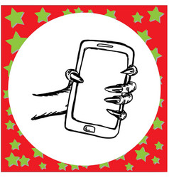 zombie ghost hand holding smartphone vector image