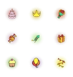 Birthday icons set pop-art style vector image vector image
