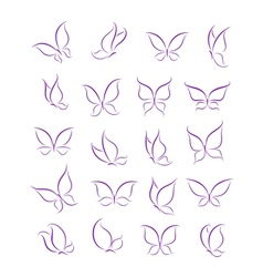 Butterfly silhouettes set vector image vector image