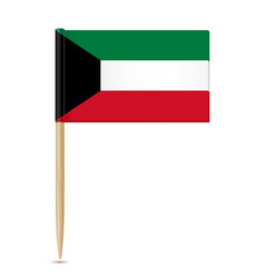 flag of kuwait flag toothpick on white background vector image