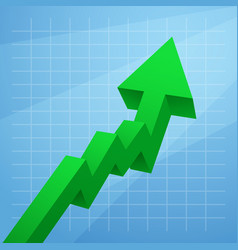 green arrow graph rises upwards isolated on white vector image vector image