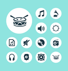 Music icons set collection of cd meloman file vector