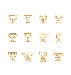 Trophy cup line icons set vector image