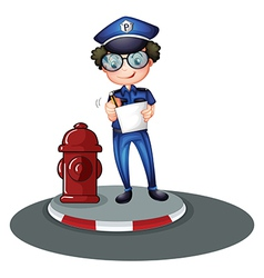 A police officer beside the hydrant vector image