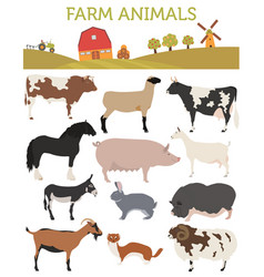 animal farming livestock cattle pig goat ship vector image