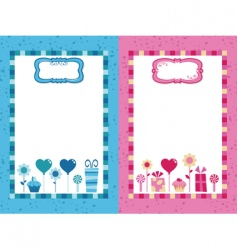 blue and pink party frames vector image vector image