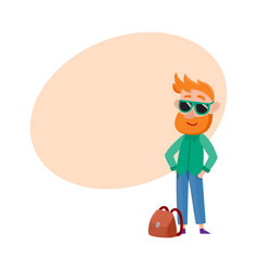 red haired man tourist in sunglasses standing vector image vector image