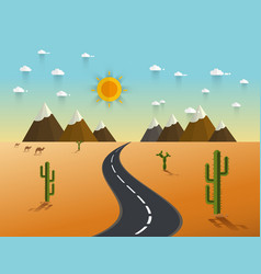 road through a desert and mountains vector image