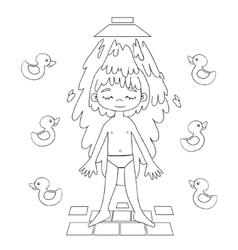 Boy takes a shower contour drawing vector image vector image