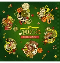 Cartoon hand drawn doodles Musical vector image