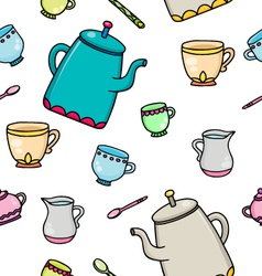 pattern with tea supplies vector image vector image