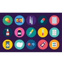 Pills capsules icons flat set Medical vector image