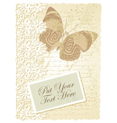 Vintage butterfly card vector image