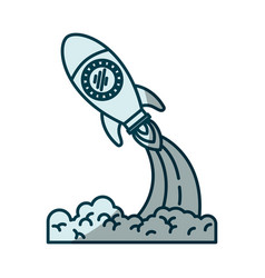 blue shading silhouette of space rocket launch vector image vector image