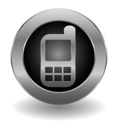 Metallic cell phone button vector image