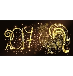 Rooster new year background vector