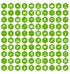 100 veterinary icons hexagon green vector