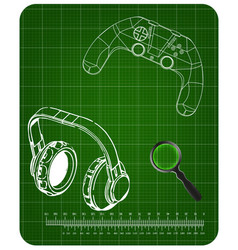3d model of joystick and headphones on a green vector