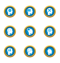 Ability to think icons set flat style vector