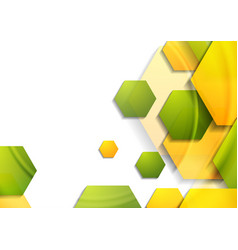 abstract tech geometric background with hexagons vector image