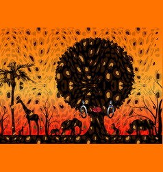 African safari animal silhouette landscape scene vector