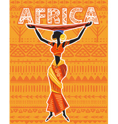 african woman in ethnic dress on geometric vector image