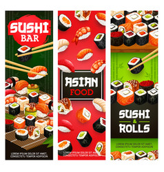 Asian sushi food japanese seafood and fish rolls vector