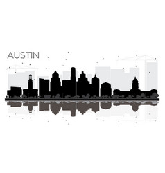 Austin texas city skyline black and white vector