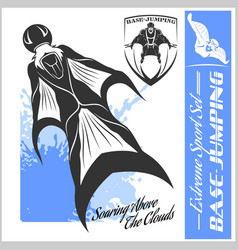Base-jumping - wingsuit flying sport set vector