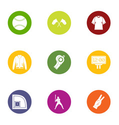 Baseball game icons set flat style vector