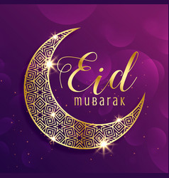 Beautiful gold moon eid mubarak festival greeting vector