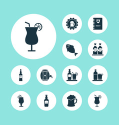 beverages icons set with burger menu tequila vector image