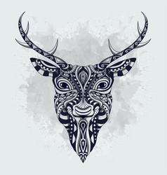 black and white stylized deer zentangle vector image