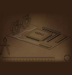 Black motherboard on brown vector