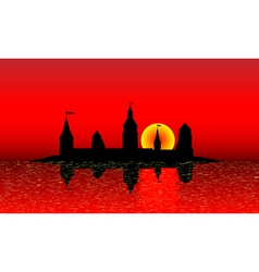 Black silhouette of the castle vector