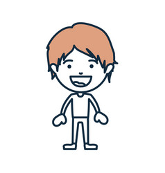Blue color contour of smiling boy standing with vector