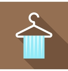 Blue scarf on coat hanger icon flat style vector
