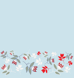 blue winter folk florals seamless border pattern vector image