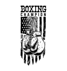 boxing champion gloves on american flag vector image