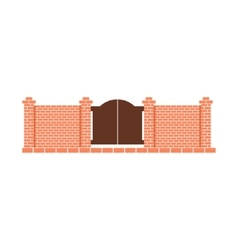 Brick Fence Design Element Template With Gates vector