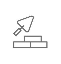 bricks with building trowel brickwork line icon vector image