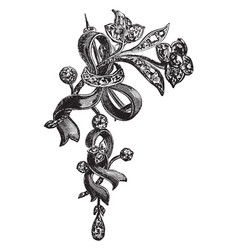Brooch ribbon vintage engraving vector