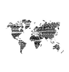 brushed tire tracks world map vector image