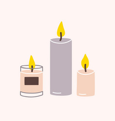 Burning wax or paraffin aromatic candles for aroma vector