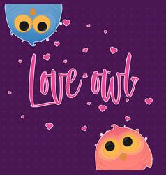 cartoon couple owl girl and boy vector image