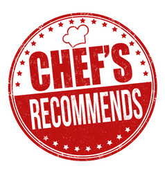chefs recommends grunge rubber stamp vector image