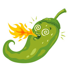 Chili pepper with flame vector