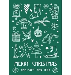 Christmas frame template card vector image